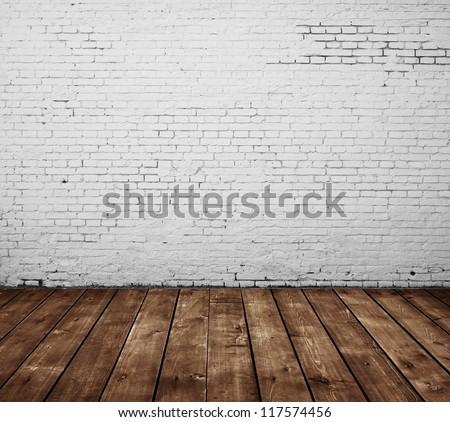 brick room and wooden floor