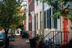 Brick row houses in Old Town, Alexandria, Virginia