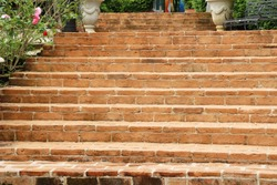 Brick stairs way up in the garden