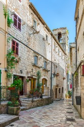 Brick street in ancient city of Kotor, Montenegro