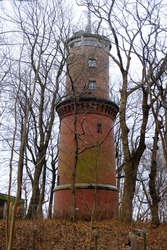 Brick tower around West Artillery Fort - historic fortifications in Świnoujście on the island of Uznam, Poland