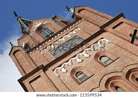 Brick tower of cathedral belfry in Pori, Finland