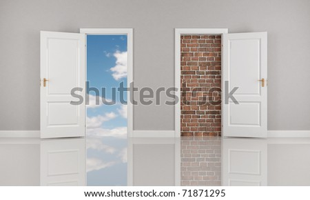 brick wall and blue sky  behind two open white door - rendering