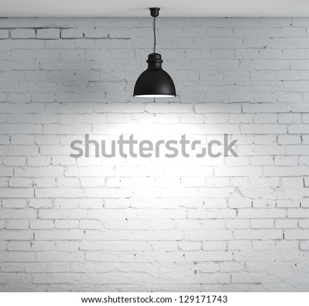 brick wall and ceiling lamp #129171743