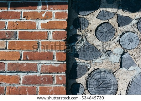brick wall and cement wall with ...