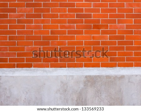 Brick wall and concrete for background