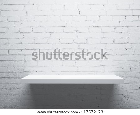 brick wall and white shelf