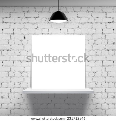 brick wall and white shelf with poster
