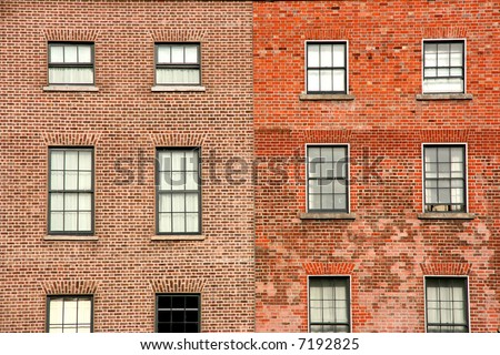 Brick wall and windows background. Architecture from Dublin, Ireland.