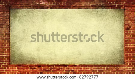 brick wall as frame for a textured text space