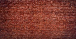 Brick Wall Background. Abstract Urban Vintage Brick Texture. Wide Angle Web banner of Old Red Brick With Copy Space for design.