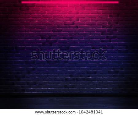 brick wall  background  neon...