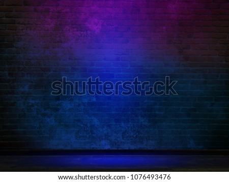 Brick wall, background, neon light