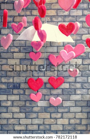Brick wall background with heart Symbol of love vintage colorful and pastel background. Look like candy. Best card for Valentine Day In love with you
