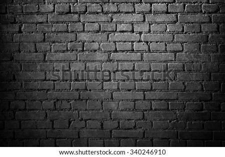 Brick wall. Black and white brick wall background