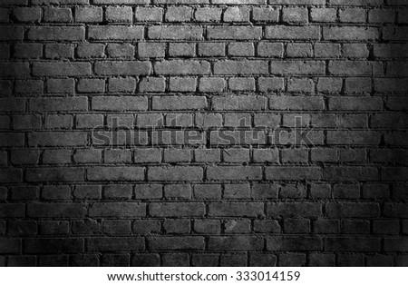 Brick wall. Black background. Grunge wall texture
