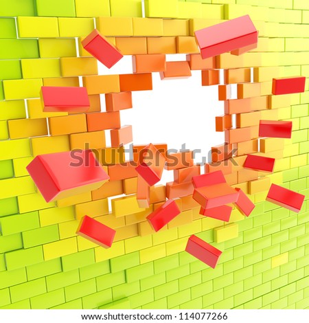Brick wall broken into pieces background with the hole in the center, colored green, orange, red