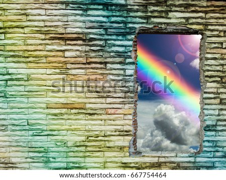 brick wall colorful hole has rainbow and sunlight, Concept love, god bless, god gift, wish, happy, lucky, Concept love, god bless, god gift, wish, happy, lucky #667754464