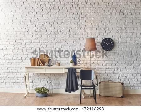 brick wall horizontal banner vintage case winter style