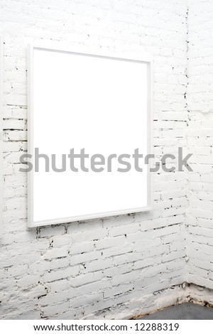 brick wall in museum with empty frame