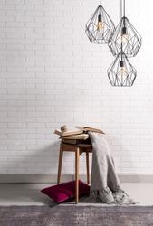 brick wall interior decor and modern rug
