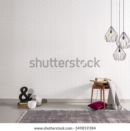 brick wall interior decor and sign