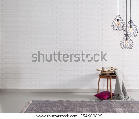 brick wall interior purple pillow and lamp decor