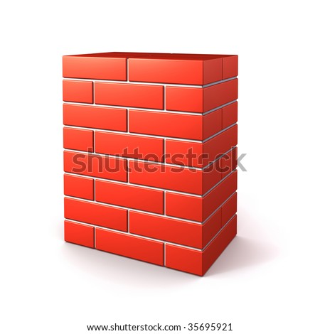 brick wall isolated on white