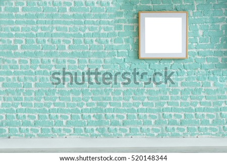 brick wall modern interior decoration empty room and large frame