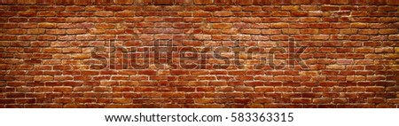 brick wall of red color, wide panorama of masonry #583363315