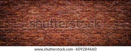 brick wall of red color, wide panorama of masonry #609284660