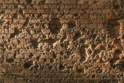 Brick wall of Twierdza Modlin near Warsaw Poland with bullet hol