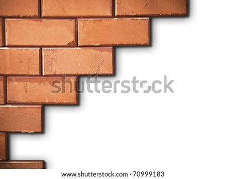 Brick wall on white background