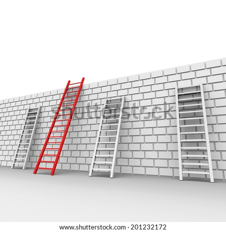 Brick Wall Showing Chalenges Ahead And Ladder