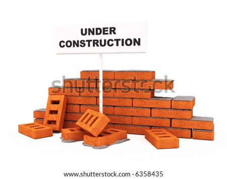 Brick wall under construction isolated over white conceptual 3d model illustration