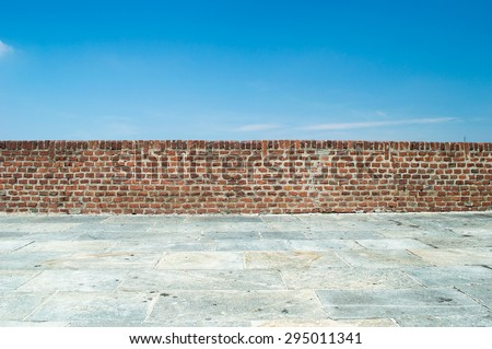 brick wall with blue sky background #295011341