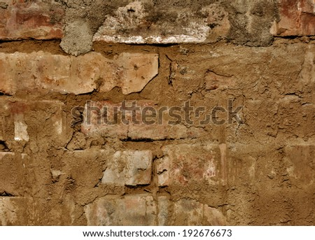 Brick wall with cement, background