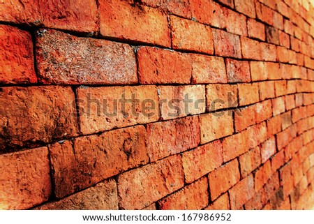 Brick wall with diminishing perspective view