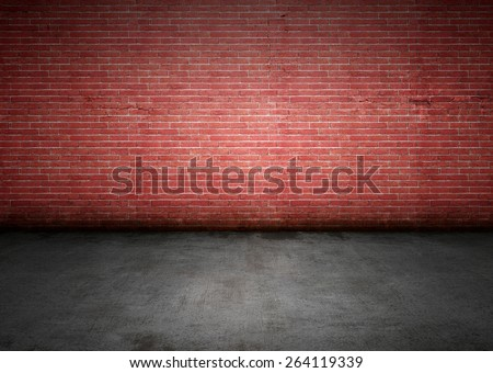 Brick wall with dirty stains, cracks, grungy lighting and shadows. Lots of copy space, perfect for design background.