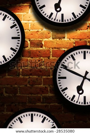 Brick wall with light effect and clock