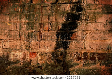 Brick wall, with traces of paint, dust, dirt, mold...