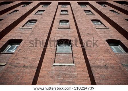 Brick Wall with Windows Warehouse Exterior