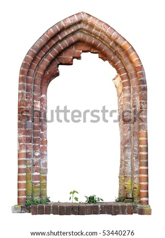 Brick window as a grungy frame, isolated on white background