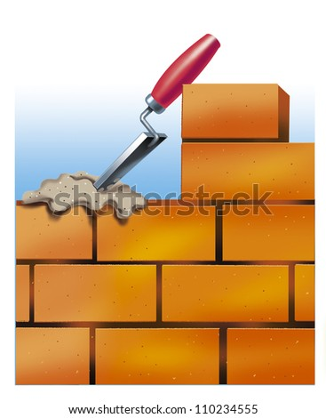 Bricklaying. Brick masonry with trowel and cement. The mortar of cement to put by trowel on the number of bricks.