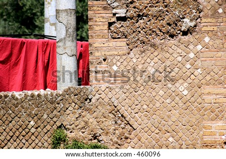 Bricks and red curtains