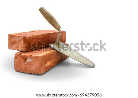 Bricks and trowel on white background,  included clipping path