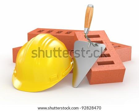Bricks, hardhat and trowel on white background. 3d - stock photo