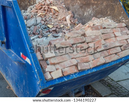 Bricks rubble container