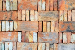 Bricks stacked in piles /Bricks background