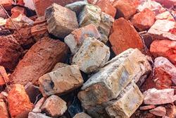 bricks stones mortar construction garbage close up